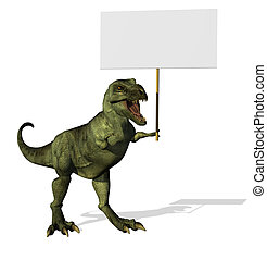 t-rex, meldingsbord, leeg
