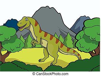 T rex Prehistoric scene