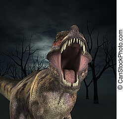 A Tyrannosaurus Rex that is roaring fiercely.