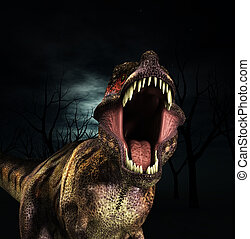 T Rex Roar - A Tyrannosaurus  Rex that is roaring fiercely.