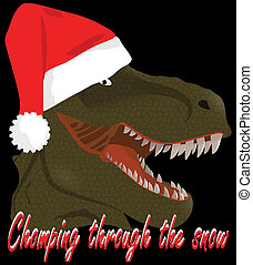 T-Rex Santa Chopping Through the Snow with Clipping Path Illustration Isolated on Black
