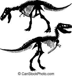 T rex skeleton - Editable vector silhouettes of the skeleton...