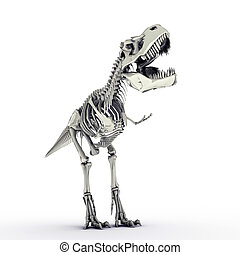 t-rex skeleton isolated on white background
