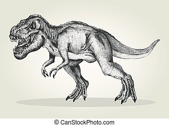 T-rex - Sketch illustration of a tyrannosaurus rex