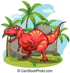 T-Rex standing on grass illustration