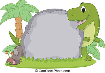 T-Rex Stone Frame - Frame Illustration Featuring a T-Rex...