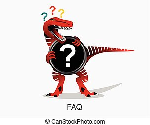 t-rex., teken., faq, dinosaur., gevraagd, vragen, frequently, symbool