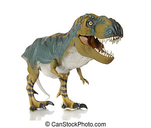A full-length image of a Tyrannosauras Rex. Shallow DOF. On a white background.