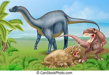 T Rex Triceratops and Diplodocus - A tyrannosaurus Rex or T...
