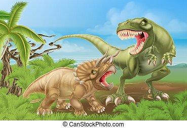 T Rex Triceratops Dinosaur Fight Scene