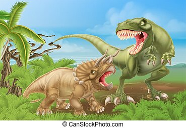 T Rex Triceratops Dinosaur Fight Scene - A tyrannosaurus rex...