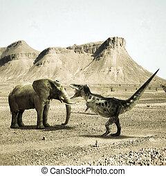 T-rex versus elephant
