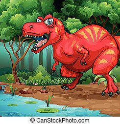 T-Rex walking in the jungle illustration