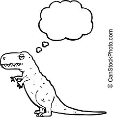 t-rex with thought bubble