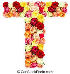 T, roses flower alphabet