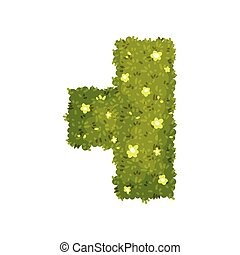 T-shaped bush. View from above. Vector illustration on white background.