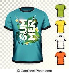 t-shirt, été, fleur, variation., couleur, feuilles, quelques-uns, exotique, arrière-plan., vecteur, conception, gabarit, vacances, habillement, transparent