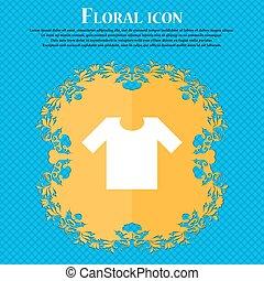 t-shirt, ícone, sinal., floral, apartamento, desenho, ligado, um, azul, abstratos, fundo, com, lugar, para, seu, text., vetorial