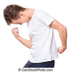 t-shirt, adolescente, branca, menino
