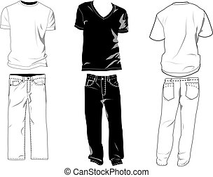 T-shirt and pants templates/mockups for your own designs....