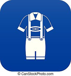 T-shirt and pants with suspenders icon digital blue