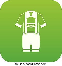T-shirt and pants with suspenders icon digital green