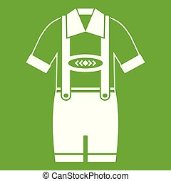 T-shirt and pants with suspenders icon green