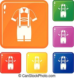 T-shirt and pants with suspenders icons set vector color