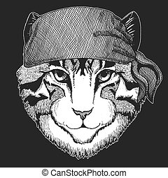 t-shirt, animal, écusson, image, conjugal, emblème, tatouage, chat, motard, seawolf, motocyclette, patch., marin, marin, bandana, pirate, logo, frais