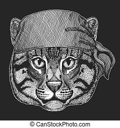 t-shirt, animal, écusson, marin, emblème, tatouage, chat, motard, seawolf, motocyclette, patch., marin, sauvage, bandana, frais, image, pirate, logo, peche