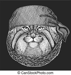 t-shirt, animal, manul, écusson, marin, emblème, tatouage, chat, motard, seawolf, motocyclette, patch., marin, sauvage, bandana, image, pirate, logo, frais