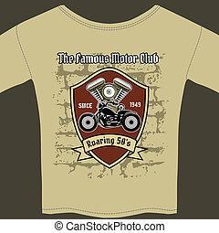 t-shirt, atelier, conception, motocyclette