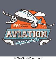 t-shirt, aviação, etiqueta