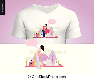 t-shirt, baisers, conception, scène, composition