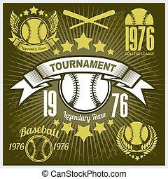 t-shirt, base-ball, tournoi, emblème, vecteur