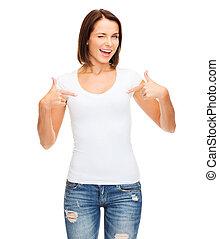 t-shirt, biały, kobieta, czysty
