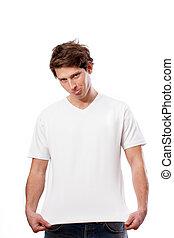 t-shirt bianco, per, tuo, proprio, testo