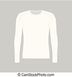 t-shirt, bianco, uomini, manica lunga