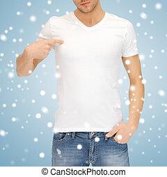 t-shirt, bianco, uomo, vuoto