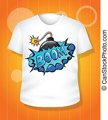 t-shirt, bianco, vettore, disegno