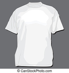 t-shirt, bianco, vettore, sagoma