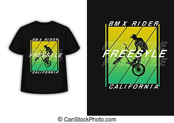t-shirt bicycle motocross freestyle california color yellow and green