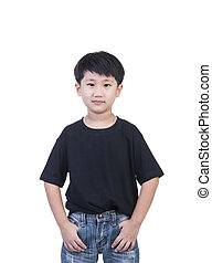 t-shirt - black T-shirt on a cute boy, isolated on white...