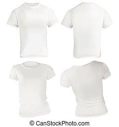 t-shirt, blanc, conception, gabarit