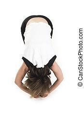 t-shirt, blanc, femme, yoga