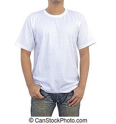 t-shirt, blanc, hommes