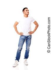 t-shirt, blanc, jeune homme