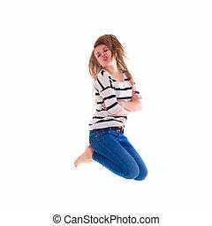 t-shirt blanc, sauter, vide, fille souriant