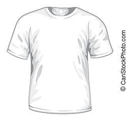 t-shirt, blanc, vecteur