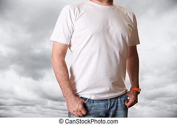 t-shirt, blanc, vide
